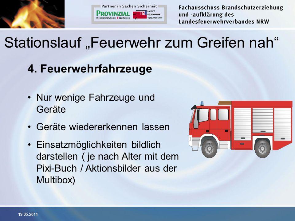 19.05.2014 4. Feuerwehrfahrzeuge Nur wenige Fahrzeuge und Geräte Geräte wiedererkennen lassen Einsatzmöglichkeiten bildlich darstellen ( je nach Alter