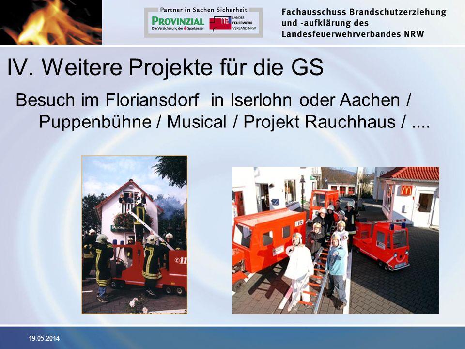 19.05.2014 IV. Weitere Projekte für die GS Besuch im Floriansdorf in Iserlohn oder Aachen / Puppenbühne / Musical / Projekt Rauchhaus /....