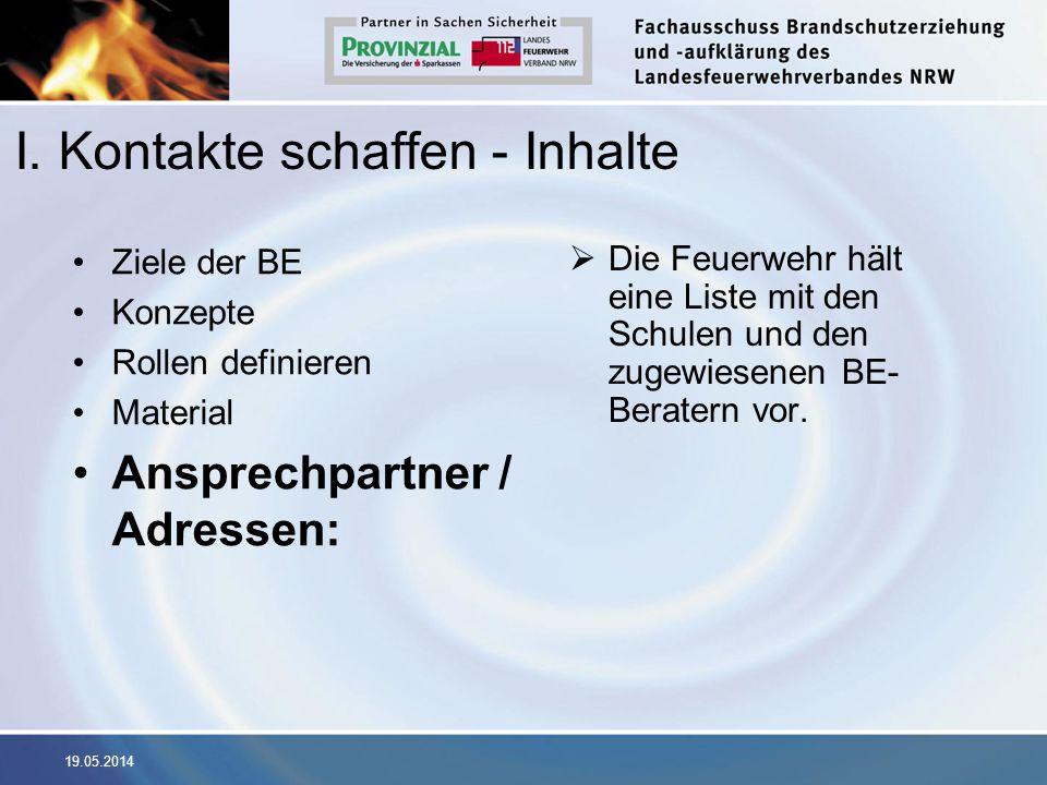 19.05.2014 I. Kontakte schaffen - Inhalte Ziele der BE Konzepte Rollen definieren Material Ansprechpartner / Adressen: Die Feuerwehr hält eine Liste m