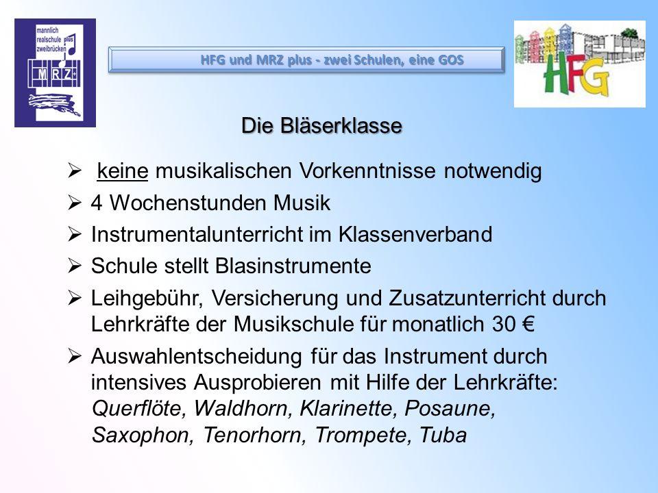 Die Bläserklasse keine musikalischen Vorkenntnisse notwendig 4 Wochenstunden Musik Instrumentalunterricht im Klassenverband Schule stellt Blasinstrume