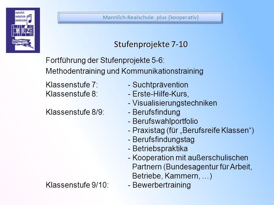 Stufenprojekte 7-10 Fortführung der Stufenprojekte 5-6: Methodentraining und Kommunikationstraining Klassenstufe 7: - Suchtprävention Klassenstufe 8: