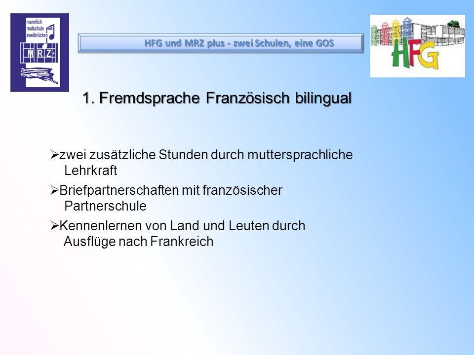 1. Fremdsprache Französisch bilingual zwei zusätzliche Stunden durch muttersprachliche Lehrkraft Briefpartnerschaften mit französischer Partnerschule