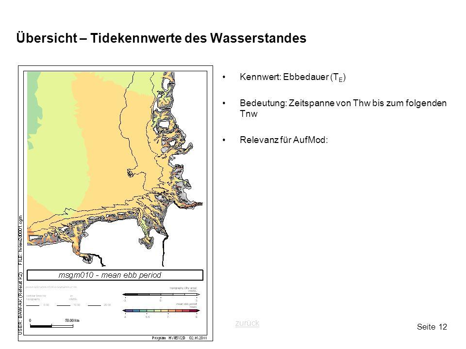 Seite 12 Übersicht – Tidekennwerte des Wasserstandes Kennwert: Ebbedauer (T E ) Bedeutung: Zeitspanne von Thw bis zum folgenden Tnw Relevanz für AufMo