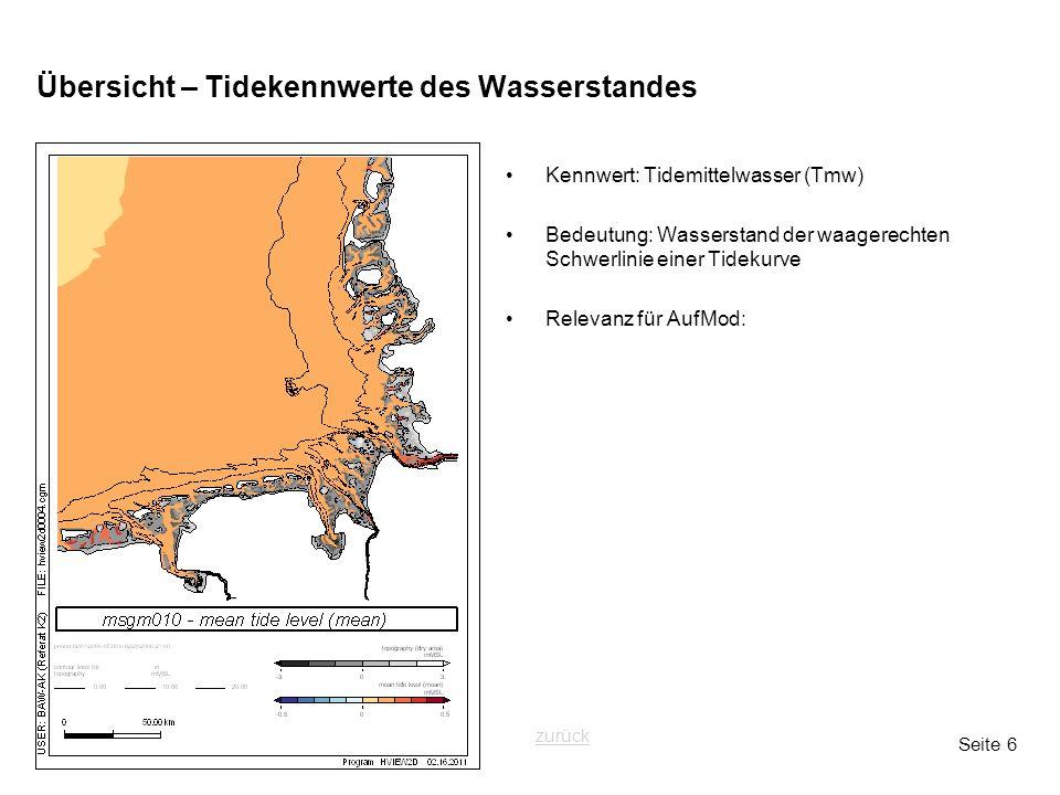 Seite 6 Übersicht – Tidekennwerte des Wasserstandes Kennwert: Tidemittelwasser (Tmw) Bedeutung: Wasserstand der waagerechten Schwerlinie einer Tidekurve Relevanz für AufMod: zurück