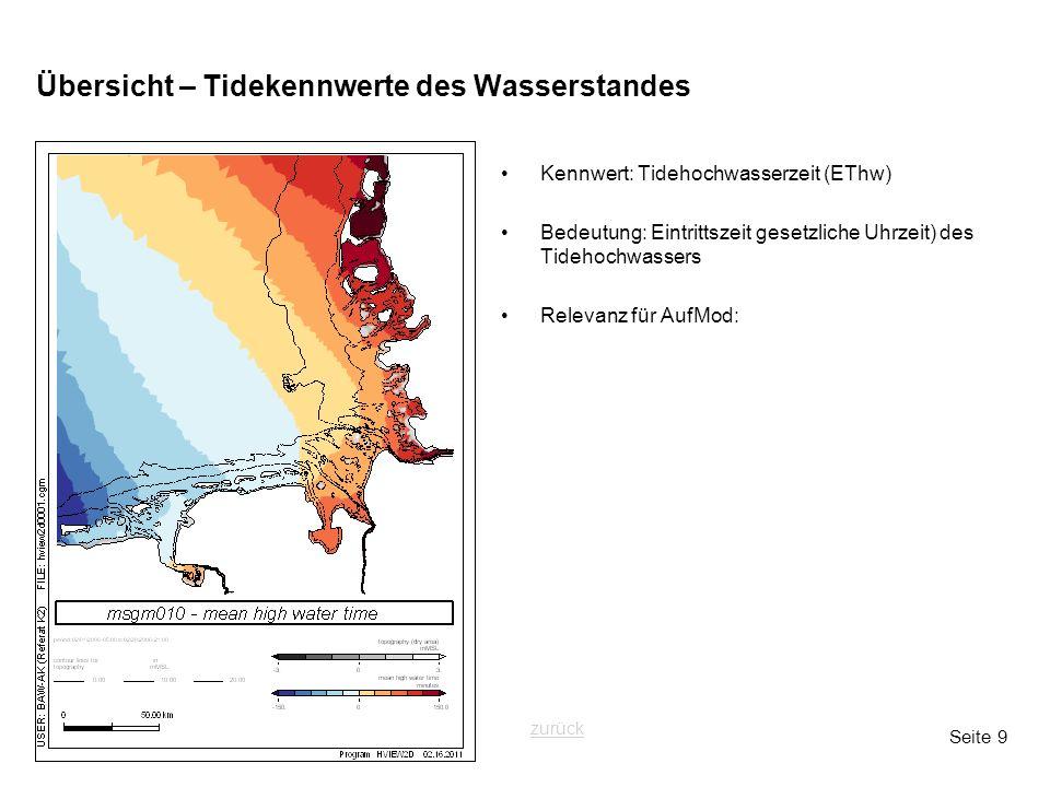 Seite 9 Übersicht – Tidekennwerte des Wasserstandes Kennwert: Tidehochwasserzeit (EThw) Bedeutung: Eintrittszeit gesetzliche Uhrzeit) des Tidehochwass