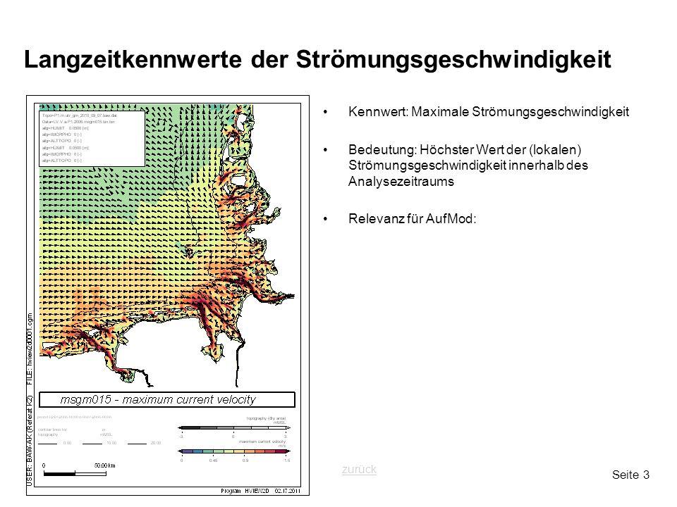Seite 3 Langzeitkennwerte der Strömungsgeschwindigkeit Kennwert: Maximale Strömungsgeschwindigkeit Bedeutung: Höchster Wert der (lokalen) Strömungsges