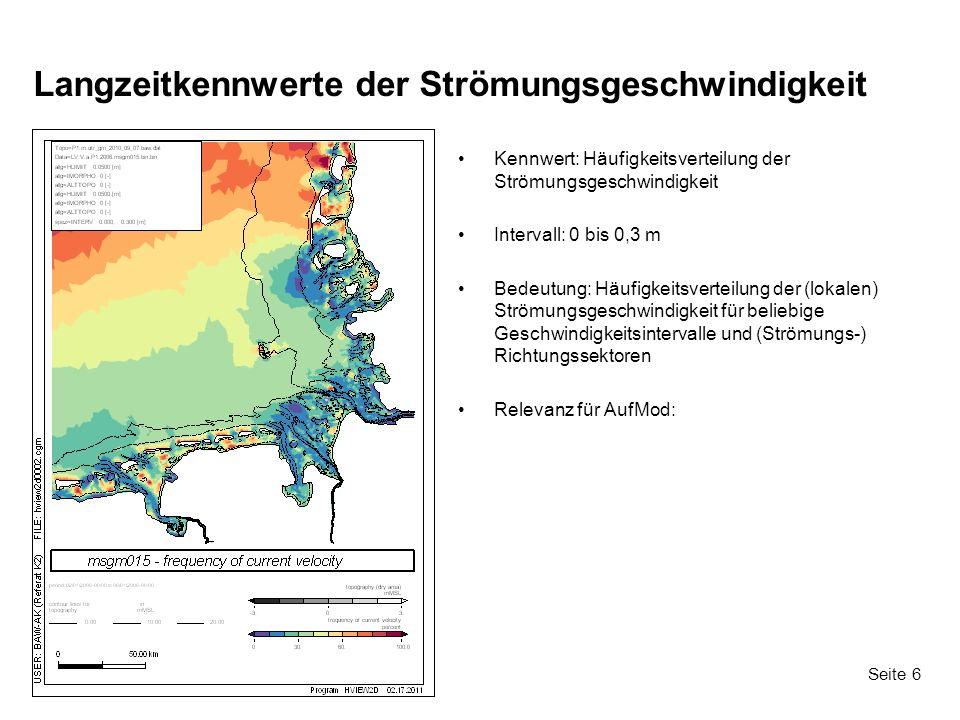 Seite 6 Langzeitkennwerte der Strömungsgeschwindigkeit Kennwert: Häufigkeitsverteilung der Strömungsgeschwindigkeit Intervall: 0 bis 0,3 m Bedeutung: Häufigkeitsverteilung der (lokalen) Strömungsgeschwindigkeit für beliebige Geschwindigkeitsintervalle und (Strömungs-) Richtungssektoren Relevanz für AufMod: