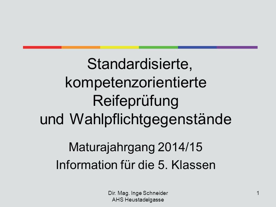 Dir. Mag. Inge Schneider AHS Heustadelgasse 1 Standardisierte, kompetenzorientierte Reifeprüfung und Wahlpflichtgegenstände Maturajahrgang 2014/15 Inf