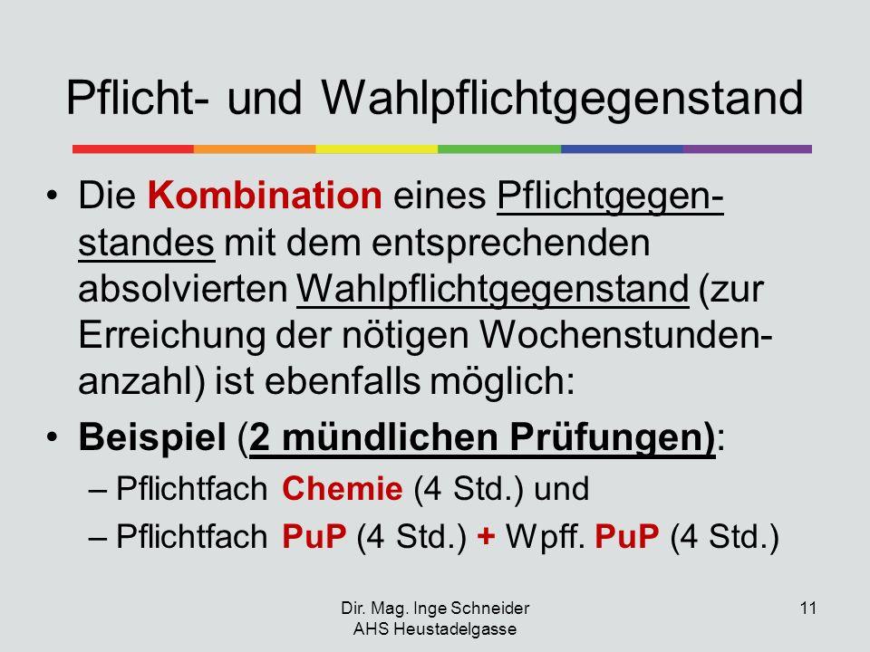Dir. Mag. Inge Schneider AHS Heustadelgasse 11 Pflicht- und Wahlpflichtgegenstand Die Kombination eines Pflichtgegen- standes mit dem entsprechenden a