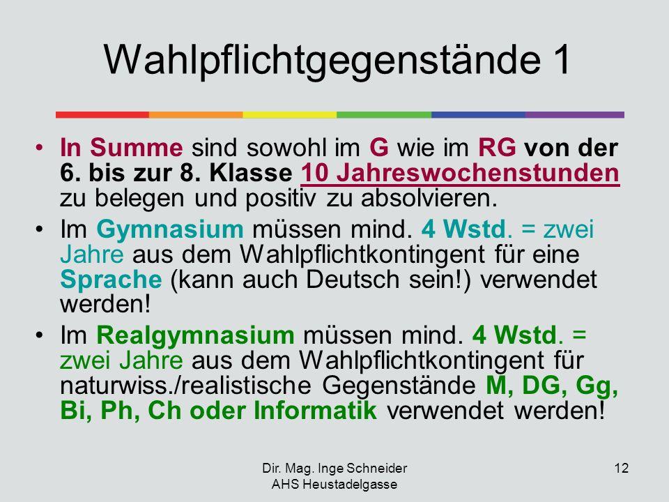 Dir. Mag. Inge Schneider AHS Heustadelgasse 12 Wahlpflichtgegenstände 1 In Summe sind sowohl im G wie im RG von der 6. bis zur 8. Klasse 10 Jahreswoch