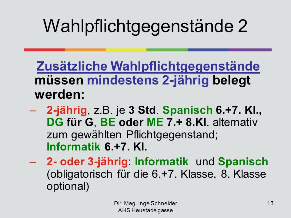 Dir. Mag. Inge Schneider AHS Heustadelgasse 13 Wahlpflichtgegenstände 2 Zusätzliche Wahlpflichtgegenstände müssen mindestens 2-jährig belegt werden: –