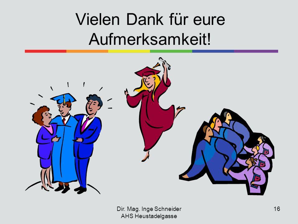 Dir. Mag. Inge Schneider AHS Heustadelgasse 16 Vielen Dank für eure Aufmerksamkeit!