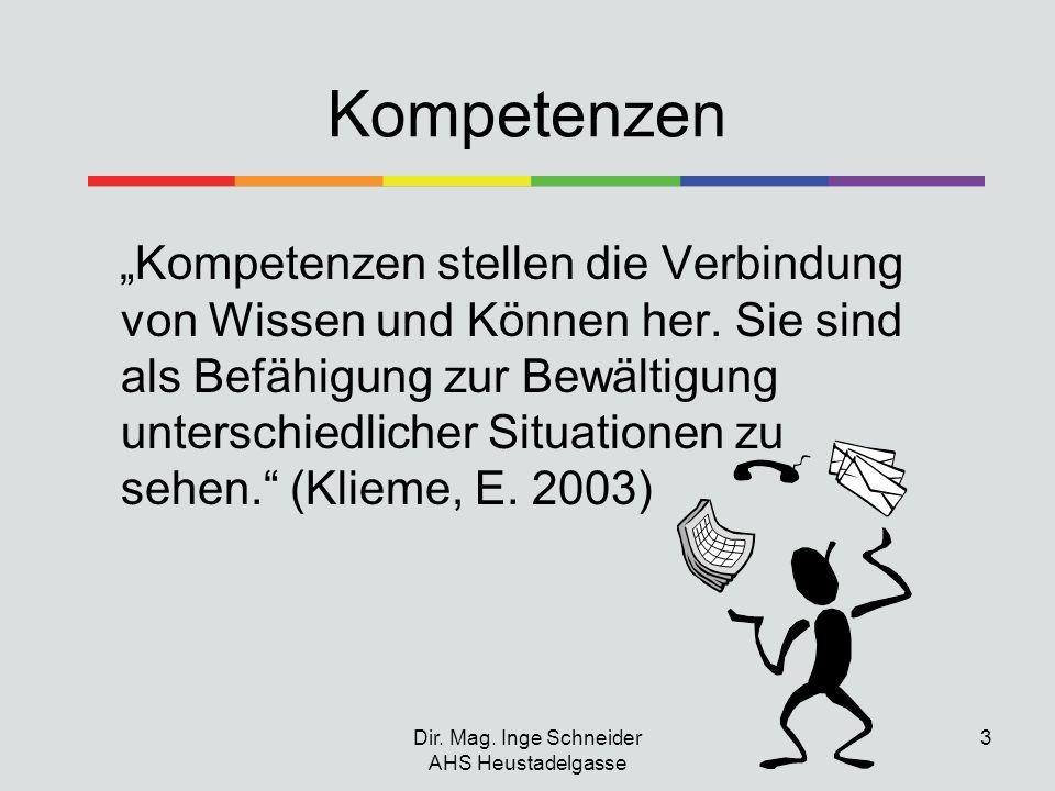 Dir. Mag. Inge Schneider AHS Heustadelgasse 3 Kompetenzen Kompetenzen stellen die Verbindung von Wissen und Können her. Sie sind als Befähigung zur Be