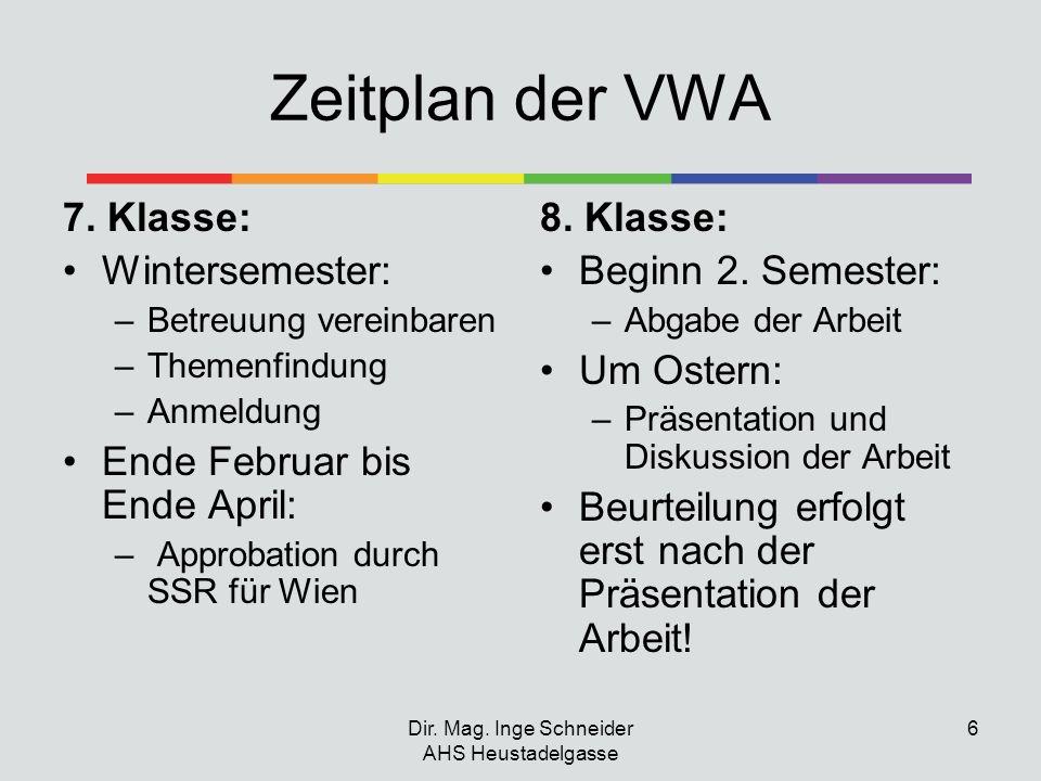 Dir. Mag. Inge Schneider AHS Heustadelgasse 6 Zeitplan der VWA 7. Klasse: Wintersemester: –Betreuung vereinbaren –Themenfindung –Anmeldung Ende Februa