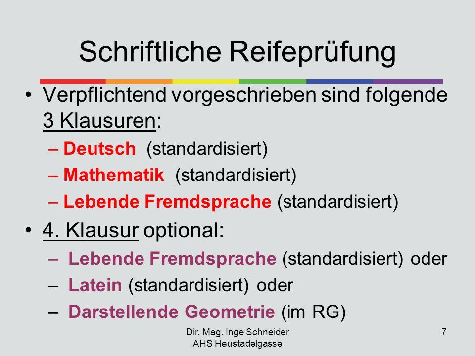 Dir. Mag. Inge Schneider AHS Heustadelgasse 7 Schriftliche Reifeprüfung Verpflichtend vorgeschrieben sind folgende 3 Klausuren: –Deutsch (standardisie