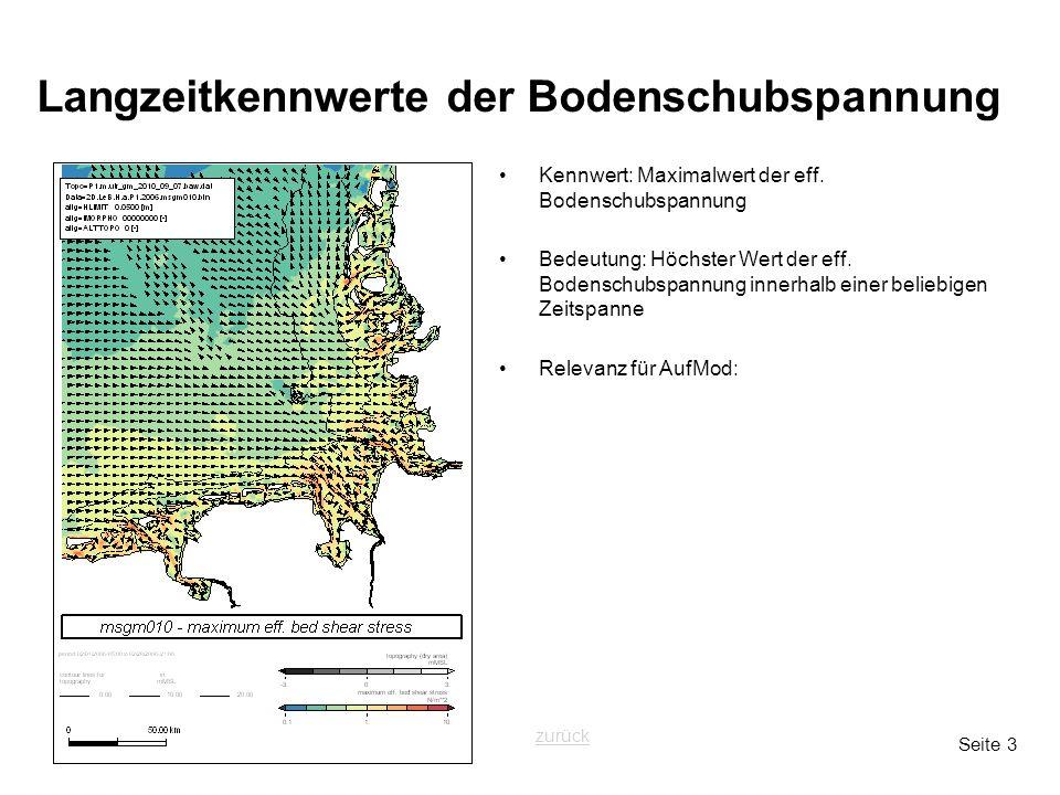 Seite 3 Langzeitkennwerte der Bodenschubspannung Kennwert: Maximalwert der eff. Bodenschubspannung Bedeutung: Höchster Wert der eff. Bodenschubspannun