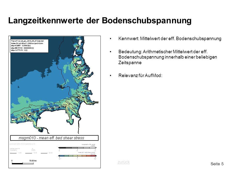 Seite 5 Langzeitkennwerte der Bodenschubspannung Kennwert: Mittelwert der eff. Bodenschubspannung Bedeutung: Arithmetischer Mittelwert der eff. Bodens
