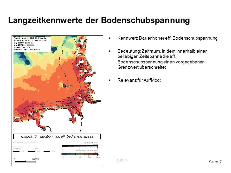 Seite 7 Langzeitkennwerte der Bodenschubspannung Kennwert: Dauer hoher eff. Bodenschubspannung Bedeutung: Zeitraum, in dem innerhalb einer beliebigen