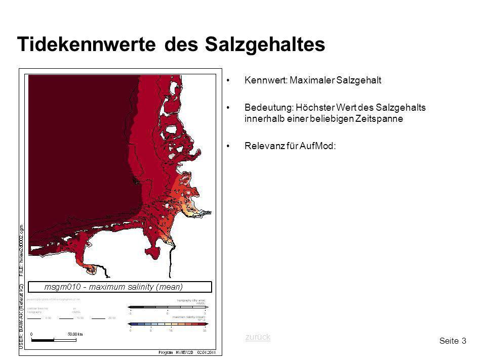 Seite 3 Tidekennwerte des Salzgehaltes Kennwert: Maximaler Salzgehalt Bedeutung: Höchster Wert des Salzgehalts innerhalb einer beliebigen Zeitspanne Relevanz für AufMod: zurück