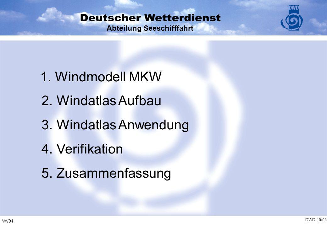 WV34 DWD 10/05 Abteilung Seeschifffahrt 1. Windmodell MKW 2. Windatlas Aufbau 3. Windatlas Anwendung 4. Verifikation 5. Zusammenfassung