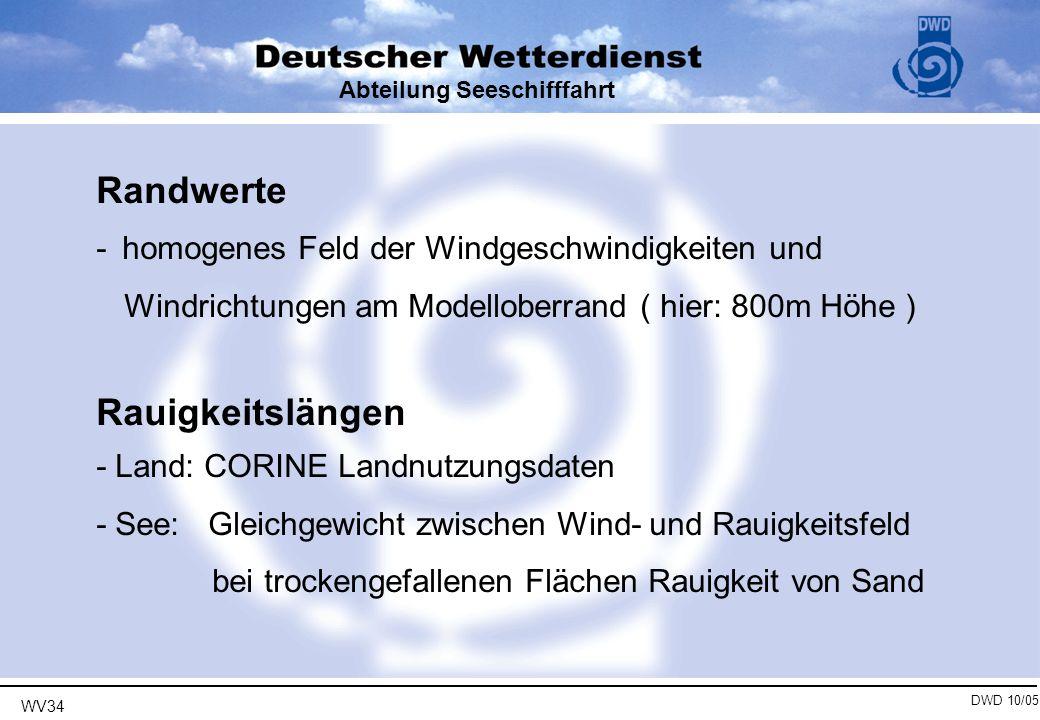 WV34 DWD 10/05 Abteilung Seeschifffahrt Windatlas-Felder geeignet als Basis für statistische Untersuchungen Vergleiche: Fehler in Windgeschwindigkeit im Mittel ca.