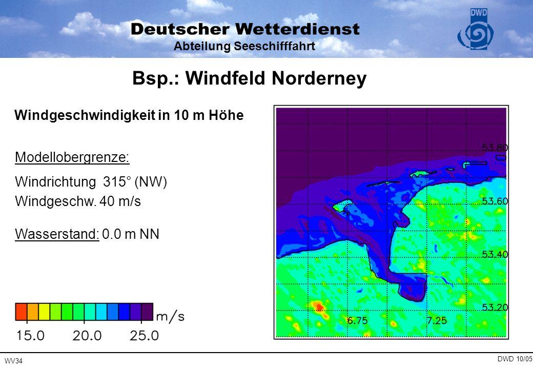 WV34 DWD 10/05 Abteilung Seeschifffahrt Modellobergrenze: Windrichtung 315° (NW) Windgeschw. 40 m/s Wasserstand: 0.0 m NN Windgeschwindigkeit in 10 m