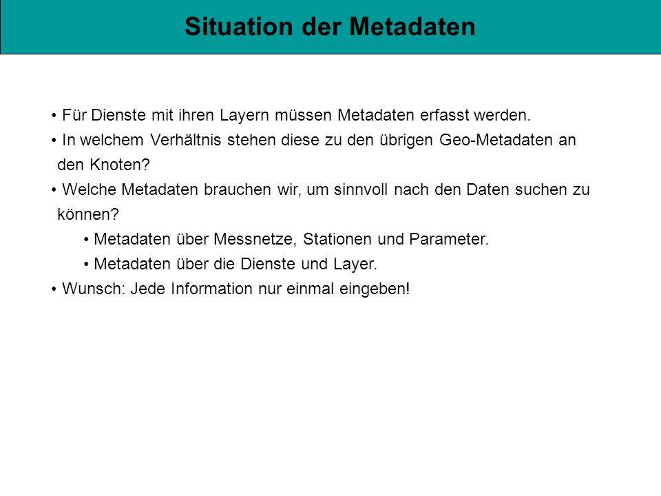 Situation der Metadaten Für Dienste mit ihren Layern müssen Metadaten erfasst werden.