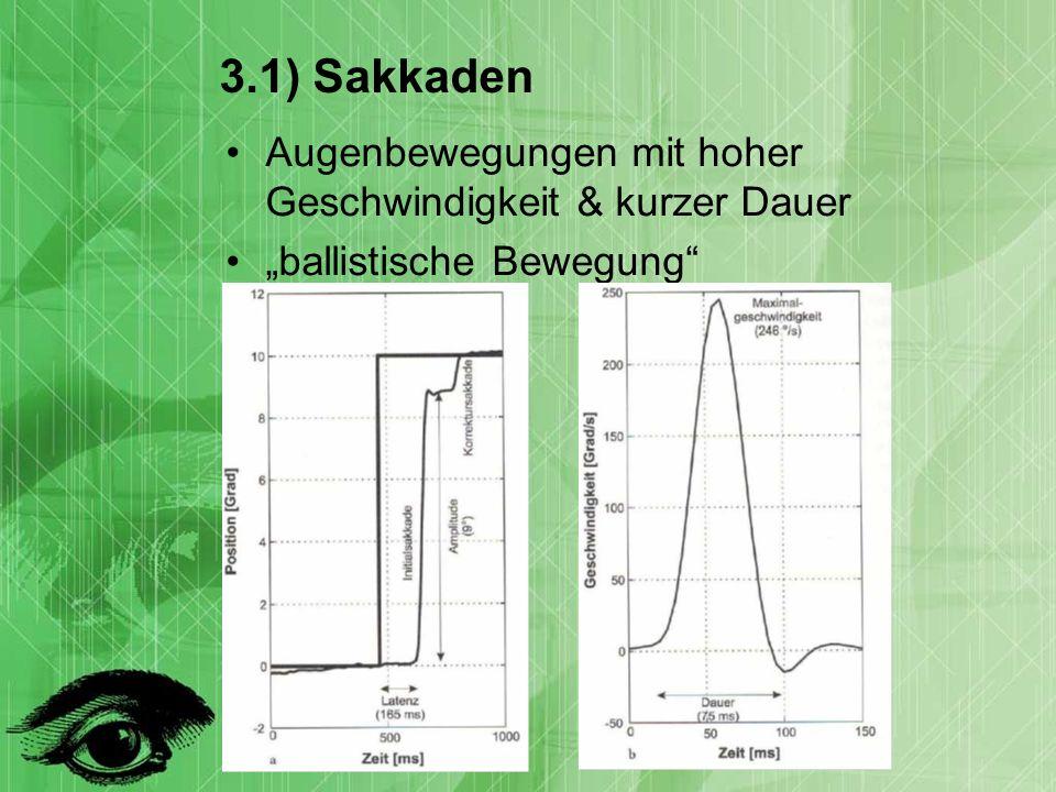 3.1) Sakkaden Augenbewegungen mit hoher Geschwindigkeit & kurzer Dauer ballistische Bewegung