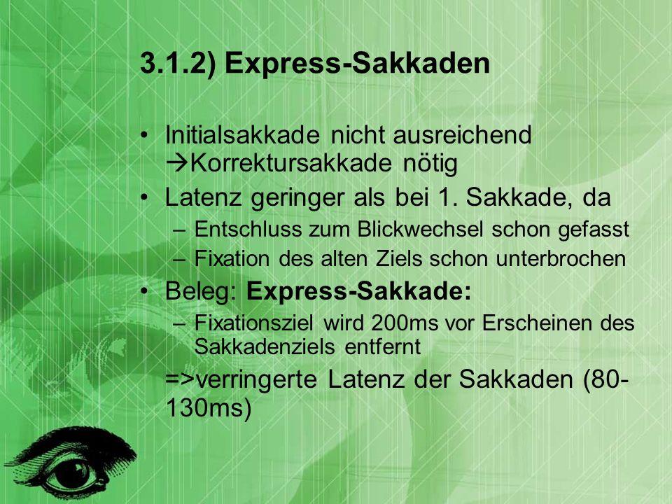 3.1.2) Express-Sakkaden Initialsakkade nicht ausreichend Korrektursakkade nötig Latenz geringer als bei 1.