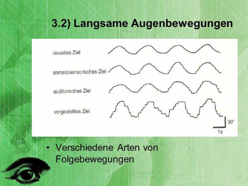 3.2) Langsame Augenbewegungen Verschiedene Arten von Folgebewegungen