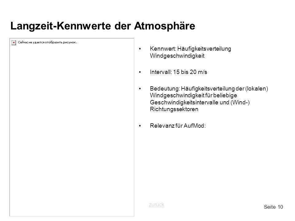 Seite 10 Langzeit-Kennwerte der Atmosphäre Kennwert: Häufigkeitsverteilung Windgeschwindigkeit Intervall: 15 bis 20 m/s Bedeutung: Häufigkeitsverteilung der (lokalen) Windgeschwindigkeit für beliebige Geschwindigkeitsintervalle und (Wind-) Richtungssektoren Relevanz für AufMod: zurück