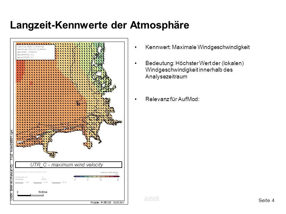 Seite 4 Langzeit-Kennwerte der Atmosphäre Kennwert: Maximale Windgeschwindigkeit Bedeutung: Höchster Wert der (lokalen) Windgeschwindigkeit innerhalb des Analysezeitraum Relevanz für AufMod: zurück
