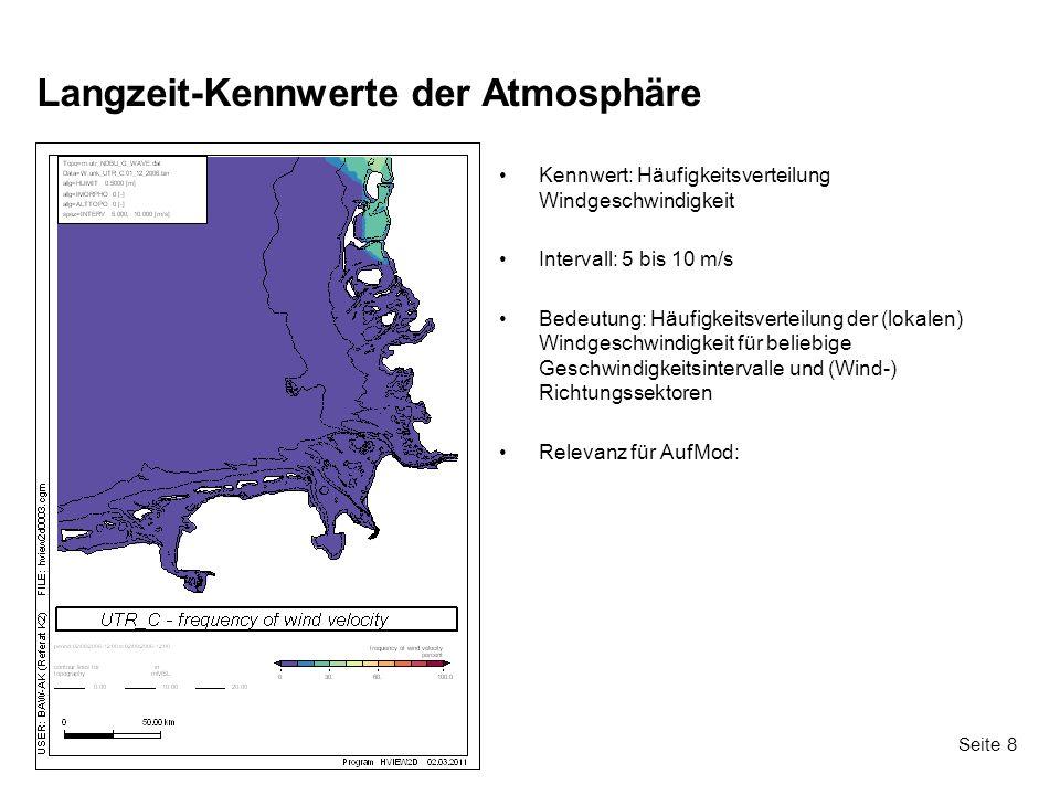 Seite 8 Langzeit-Kennwerte der Atmosphäre Kennwert: Häufigkeitsverteilung Windgeschwindigkeit Intervall: 5 bis 10 m/s Bedeutung: Häufigkeitsverteilung der (lokalen) Windgeschwindigkeit für beliebige Geschwindigkeitsintervalle und (Wind-) Richtungssektoren Relevanz für AufMod: