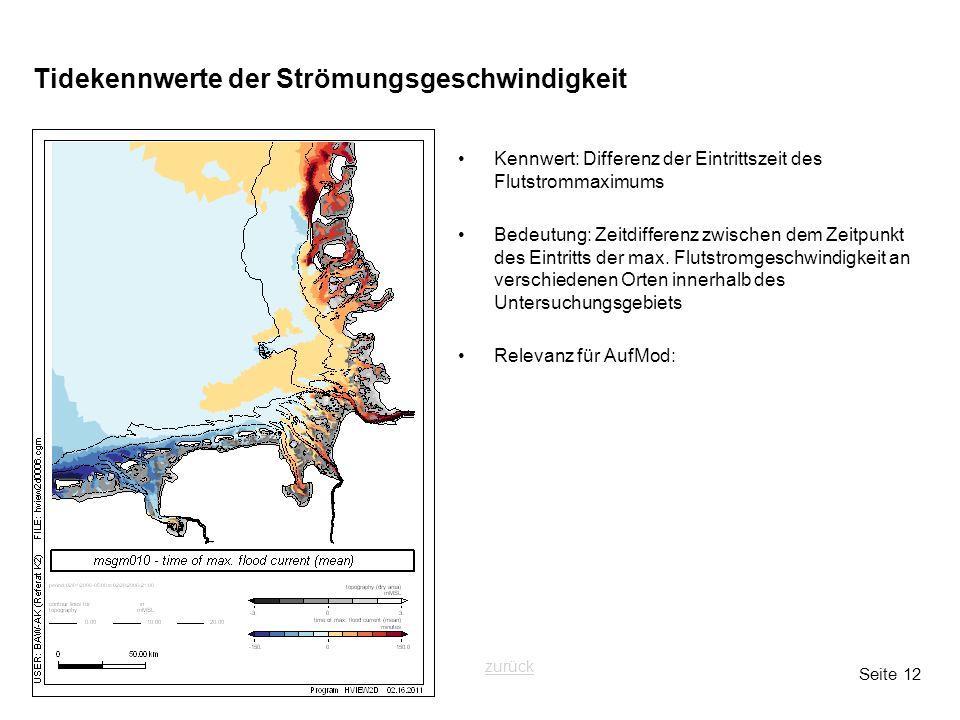 Seite 12 Tidekennwerte der Strömungsgeschwindigkeit Kennwert: Differenz der Eintrittszeit des Flutstrommaximums Bedeutung: Zeitdifferenz zwischen dem