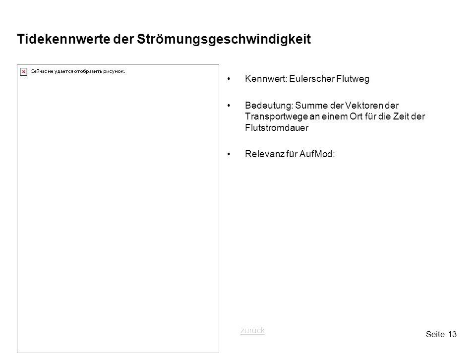 Seite 13 Tidekennwerte der Strömungsgeschwindigkeit Kennwert: Eulerscher Flutweg Bedeutung: Summe der Vektoren der Transportwege an einem Ort für die