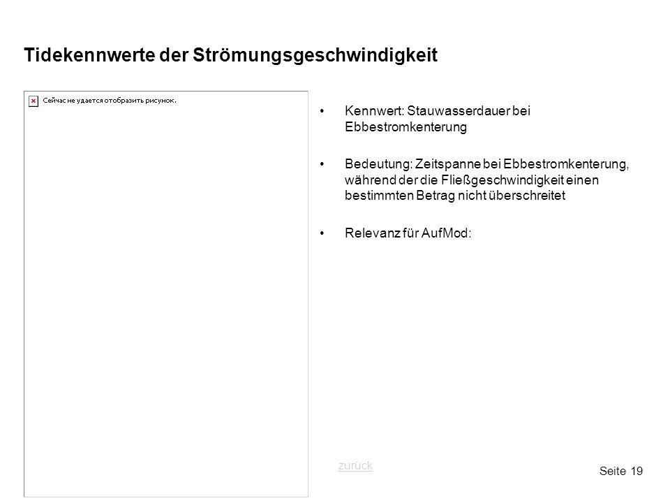 Seite 19 Tidekennwerte der Strömungsgeschwindigkeit Kennwert: Stauwasserdauer bei Ebbestromkenterung Bedeutung: Zeitspanne bei Ebbestromkenterung, wäh