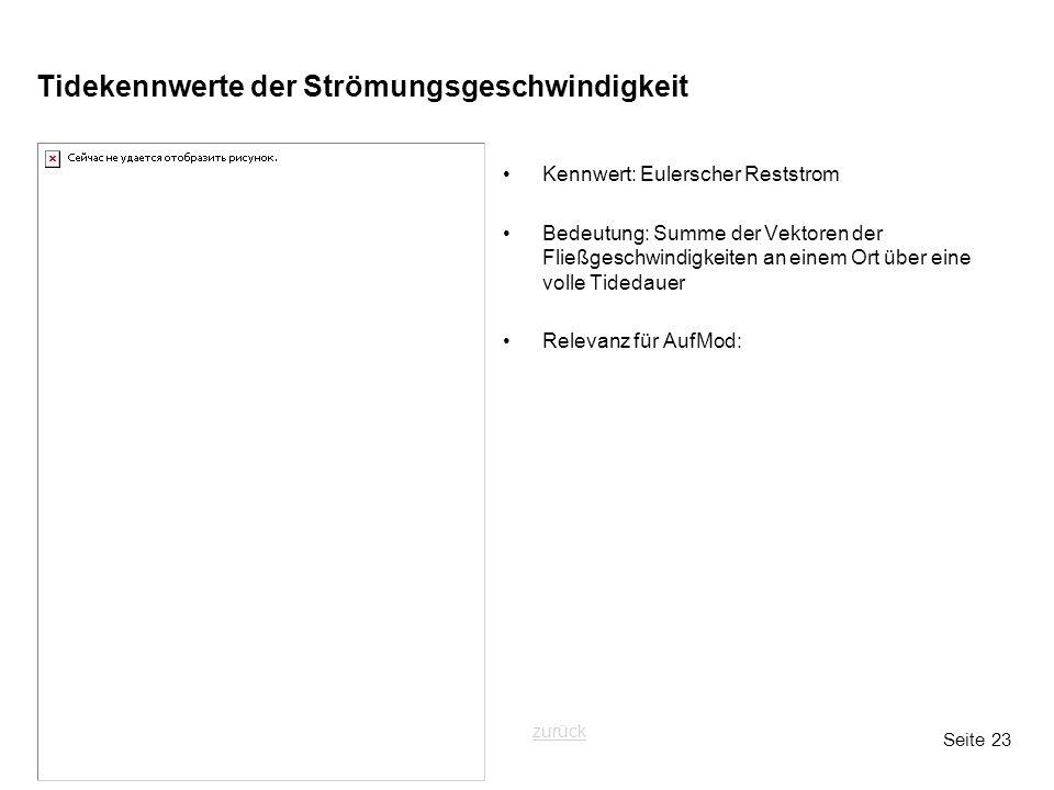 Seite 23 Tidekennwerte der Strömungsgeschwindigkeit Kennwert: Eulerscher Reststrom Bedeutung: Summe der Vektoren der Fließgeschwindigkeiten an einem O