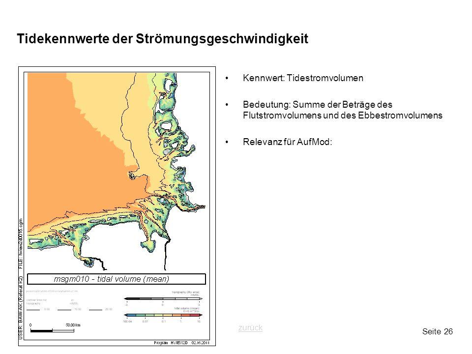 Seite 26 Tidekennwerte der Strömungsgeschwindigkeit Kennwert: Tidestromvolumen Bedeutung: Summe der Beträge des Flutstromvolumens und des Ebbestromvol