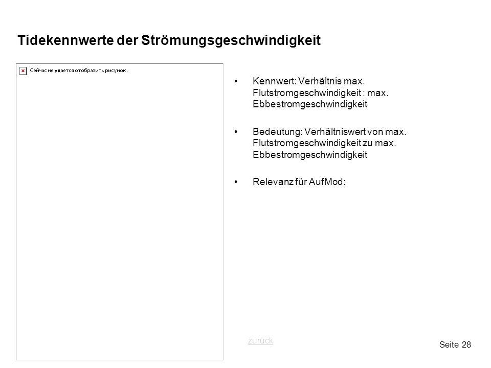 Seite 28 Tidekennwerte der Strömungsgeschwindigkeit Kennwert: Verhältnis max. Flutstromgeschwindigkeit : max. Ebbestromgeschwindigkeit Bedeutung: Verh