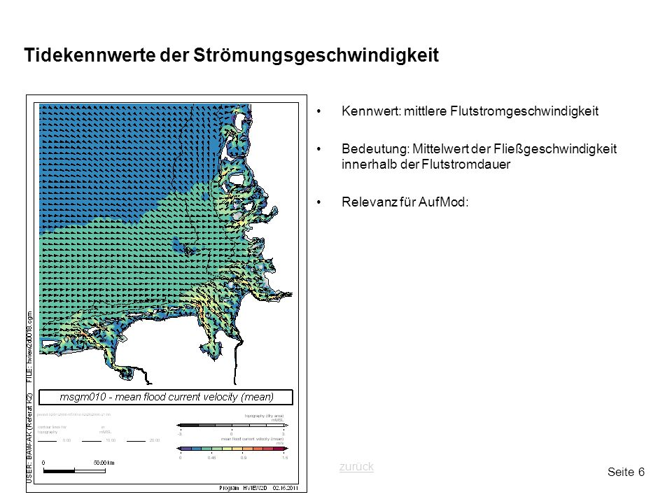 Seite 6 Tidekennwerte der Strömungsgeschwindigkeit Kennwert: mittlere Flutstromgeschwindigkeit Bedeutung: Mittelwert der Fließgeschwindigkeit innerhal