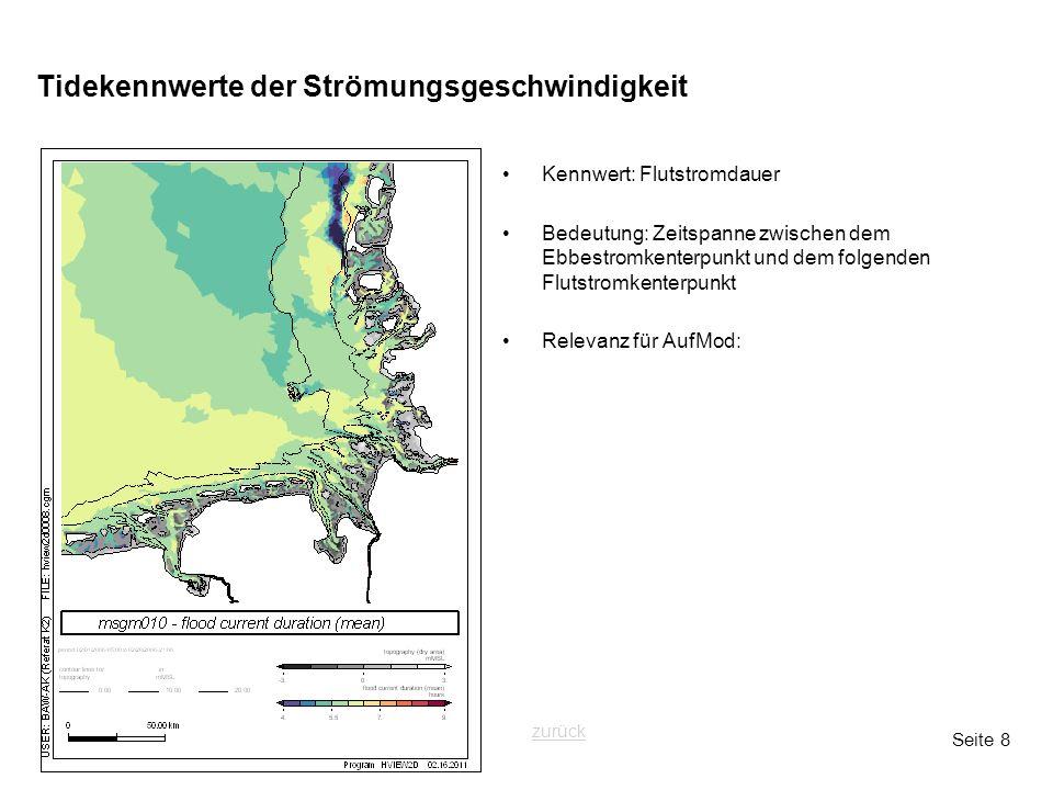 Seite 8 Tidekennwerte der Strömungsgeschwindigkeit Kennwert: Flutstromdauer Bedeutung: Zeitspanne zwischen dem Ebbestromkenterpunkt und dem folgenden