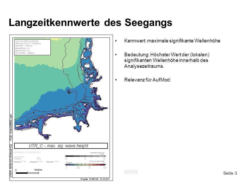 Seite 3 Langzeitkennwerte des Seegangs Kennwert: maximale signifikante Wellenhöhe Bedeutung: Höchster Wert der (lokalen) signifikanten Wellenhöhe innerhalb des Analysezeitraums.