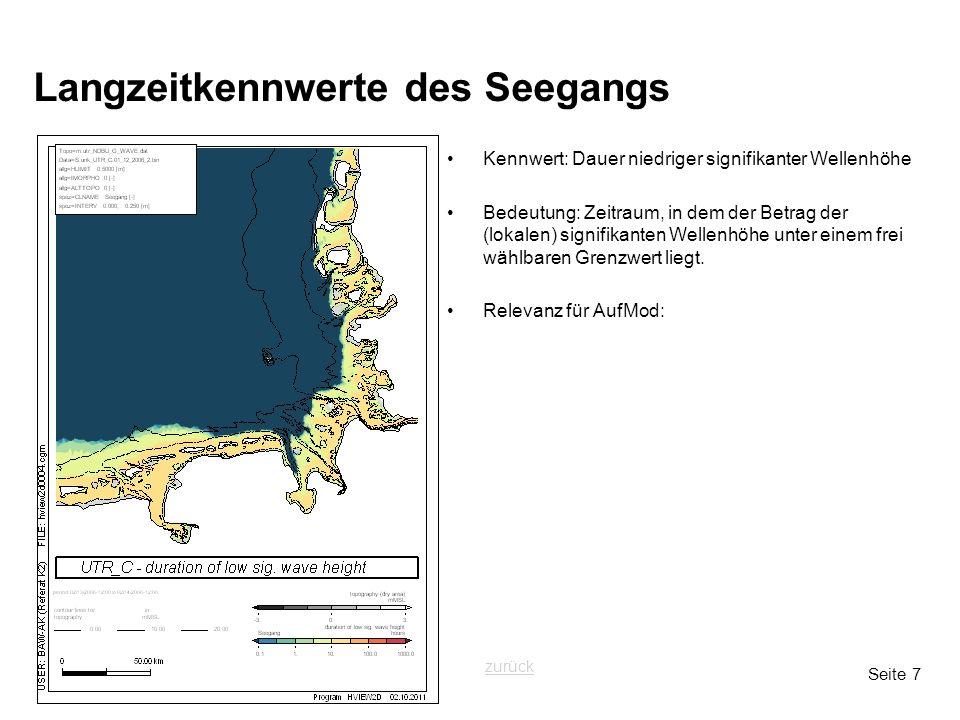 Seite 7 Langzeitkennwerte des Seegangs Kennwert: Dauer niedriger signifikanter Wellenhöhe Bedeutung: Zeitraum, in dem der Betrag der (lokalen) signifikanten Wellenhöhe unter einem frei wählbaren Grenzwert liegt.