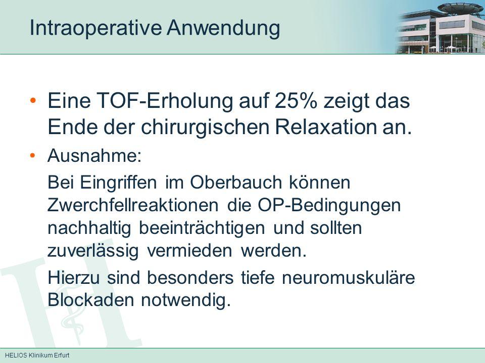 HELIOS Klinikum Erfurt Intraoperative Anwendung Eine TOF-Erholung auf 25% zeigt das Ende der chirurgischen Relaxation an. Ausnahme: Bei Eingriffen im