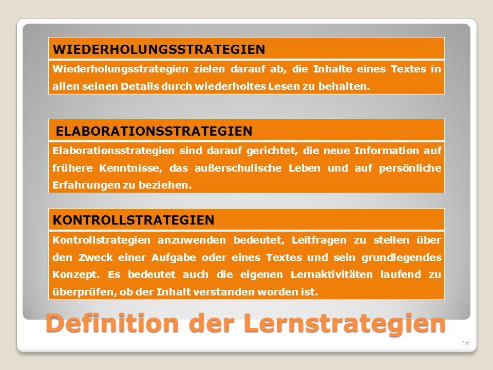 Definition der Lernstrategien WIEDERHOLUNGSSTRATEGIEN Wiederholungsstrategien zielen darauf ab, die Inhalte eines Textes in allen seinen Details durch