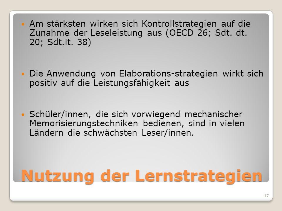 Nutzung der Lernstrategien Am stärksten wirken sich Kontrollstrategien auf die Zunahme der Leseleistung aus (OECD 26; Sdt. dt. 20; Sdt.it. 38) Die Anw
