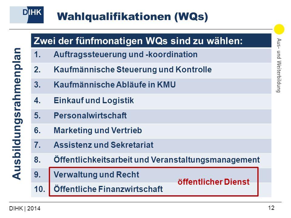 DIHK | 2014 12 Zwei der fünfmonatigen WQs sind zu wählen: 1.Auftragssteuerung und -koordination 2.Kaufmännische Steuerung und Kontrolle 3.Kaufmännisch