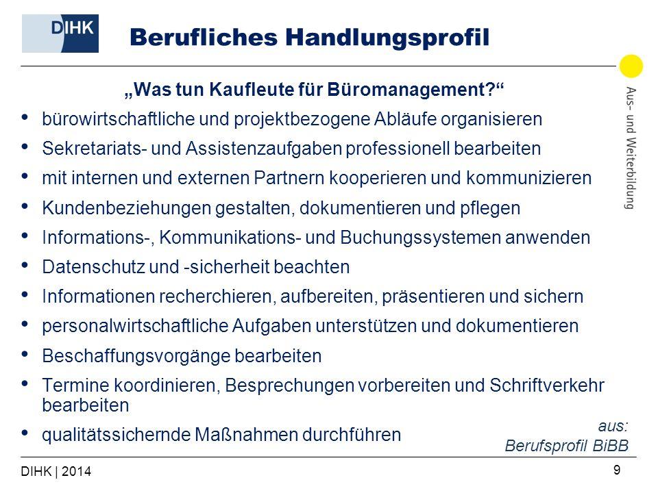 DIHK | 2014 9 Berufliches Handlungsprofil Was tun Kaufleute für Büromanagement? bürowirtschaftliche und projektbezogene Abläufe organisieren Sekretari