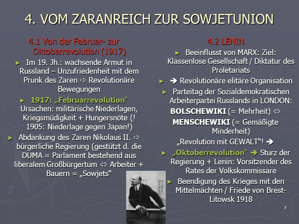 8 4.VOM ZARANREICH ZUR SOWJETUNION 4.3 Der Bürgerkrieg v.
