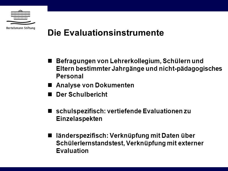Die Evaluationsinstrumente Befragungen von Lehrerkollegium, Schülern und Eltern bestimmter Jahrgänge und nicht-pädagogisches Personal Analyse von Doku
